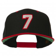 Number 7 Embroidered Classic Two Tone Snapback Cap - Black Red