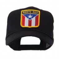 North and South America Flag Shield Patch Cap - Puerto Rico