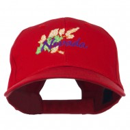 USA State Nevada Sagebrush Embroidered Low Profile Cap - Red