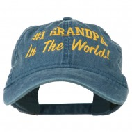Number 1 Grandpa in the World Embroidered Washed Cotton Cap - Navy