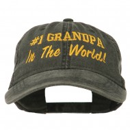 Number 1 Grandpa in the World Embroidered Washed Cotton Cap - Black