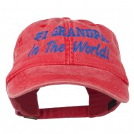 Number 1 Grandpa in the World Embroidered Washed Cotton Cap - Red