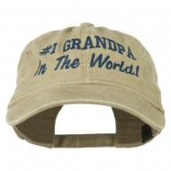 Number 1 Grandpa in the World Embroidered Washed Cotton Cap - Khaki