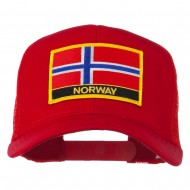 Norway Country Patched Mesh Back Cap - Red