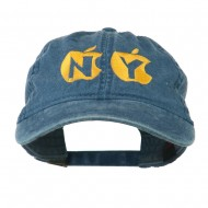 NY with Apple Image Embroidered Washed Cap - Navy