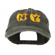 NY with Apple Image Embroidered Washed Cap - Black
