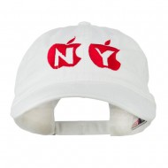 NY with Apple Image Embroidered Washed Cap - White
