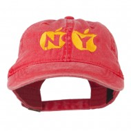 NY with Apple Image Embroidered Washed Cap - Red