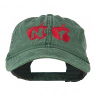 NY with Apple Image Embroidered Washed Cap - Dark Green