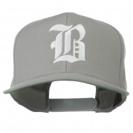 Old English B Embroidered Flat Bill Cap - Silver