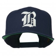 Old English B Embroidered Flat Bill Cap - Navy