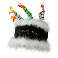 Over the Hill Cake Hat with Boa Trim - Black
