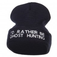 I'd Rather Be Ghost Hunting Long Beanie - Navy