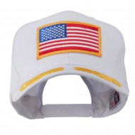 Oak Leaves and American Gold Flag Patch Cap - White