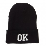 OK Oklahoma State Embroidered Long Beanie - Black