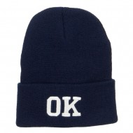 OK Oklahoma State Embroidered Long Beanie - Navy