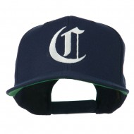 Large Old English C Embroidered Flat Bill Cap - Navy