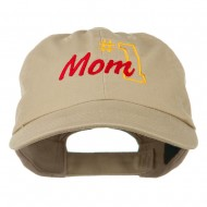 Number 1 Mom Embroidered Washed Cap - Khaki