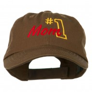 Number 1 Mom Embroidered Washed Cap - Brown