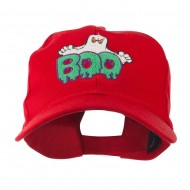 Halloween Ghost Boo Embroidered Cap - Red