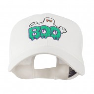 Halloween Ghost Boo Embroidered Cap - White