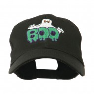 Halloween Ghost Boo Embroidered Cap - Black