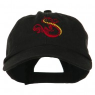 Oriental Dragon Embroidered Washed Cap - Black