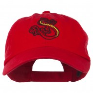Oriental Dragon Embroidered Washed Cap - Red