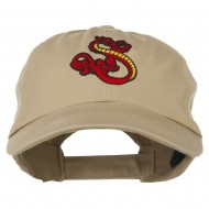 Oriental Dragon Embroidered Washed Cap - Khaki