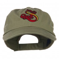 Oriental Dragon Embroidered Washed Cap - Olive
