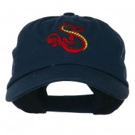 Oriental Dragon Embroidered Washed Cap - Navy