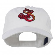 Oriental Dragon Embroidered Washed Cap - White
