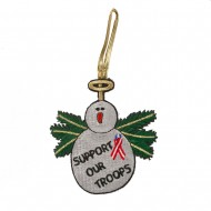 Support Our Troops Embroidered Ornament Medallion - Support Troop Snowman
