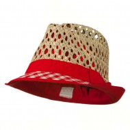 Open Weave Sea Grass Fedora Hat - Red