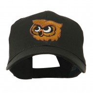 Brown Owl Mascot Embroidered Cap - Black