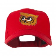 Brown Owl Mascot Embroidered Cap - Red