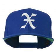 Old English X Embroidered Flat Bill Cap - Royal