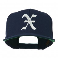 Old English X Embroidered Flat Bill Cap - Navy