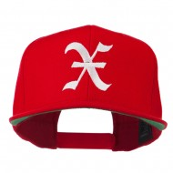 Old English X Embroidered Flat Bill Cap - Red