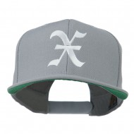 Old English X Embroidered Flat Bill Cap - Silver