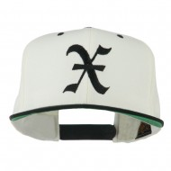 Old English X Embroidered Flat Bill Cap - Natural Black