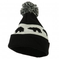 Pom Pom Accented Knitted Bear Hat - Black