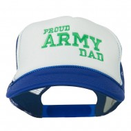 Proud Army Dad Embroidered Foam Mesh Cap - Royal White