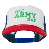Proud Army Dad Embroidered Foam Mesh Cap - Red White Red