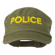 Police Embroidered Enzyme Army Cap - Olive