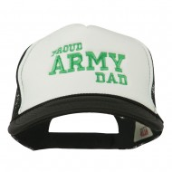 Proud Army Dad Embroidered Foam Mesh Cap - Black White