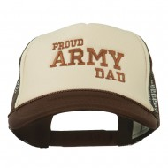 Proud Army Dad Embroidered Foam Mesh Cap - Brown Tan