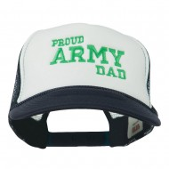 Proud Army Dad Embroidered Foam Mesh Cap - Navy White