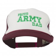 Proud Army Dad Embroidered Foam Mesh Cap - Maroon White
