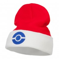 Ash Ketchum Poke Ball Embroidered Cuff Beanie - Red White